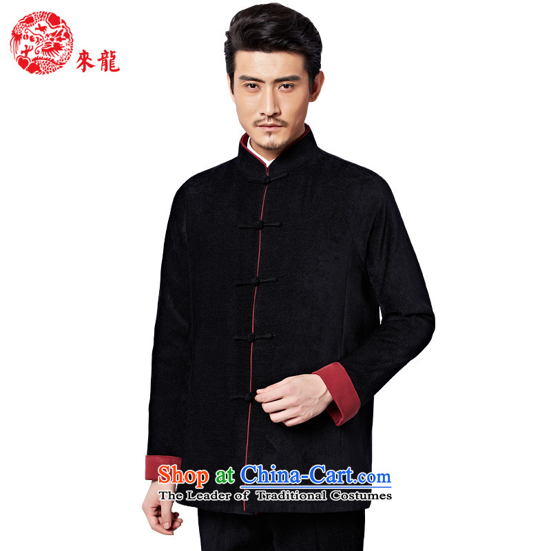To Tang Dynasty Dragon聽2015 autumn and winter New China wind men detained jacket聽15595 Disk聽Black聽46