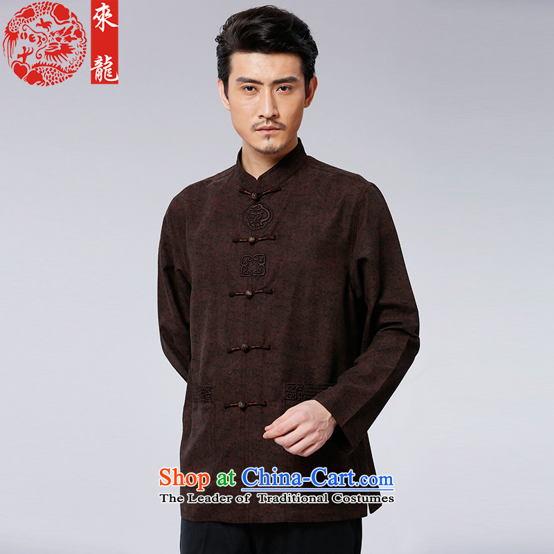 To Tang Dynasty Dragon?2015 autumn and winter New China wind men retro-tie jacket?15600?wine red wine red?44