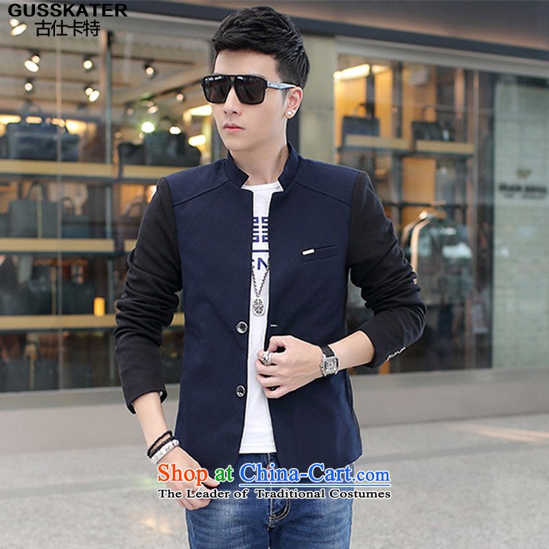 Mrs Shi Tang Dynasty Chinese tunic Carter Summer�2015 Autumn on Men's Mock-Neck Chinese tunic jacket light jacket male�B465 navy�M
