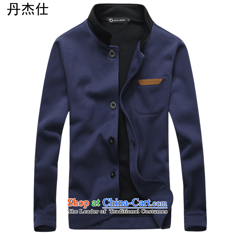Dan Jie Shi Tang Dynasty Chinese tunic men?fall 2015 install new version of the Korean Men's Mock-Neck Sau San Jacket coat man Chinese tunic plus lint-free Sau San?YJ810 BLUE?XL