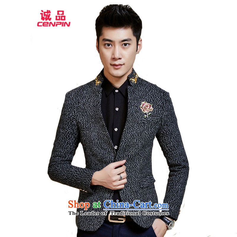 Eslite autumn and winter new Korean Men's Mock-Neck Sau San Suit X56 Carbon聽L