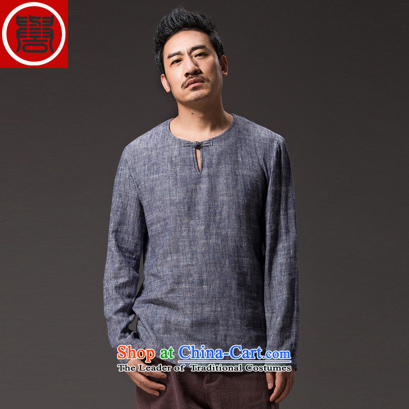 Renowned China wind autumn men cotton linen Tang dynasty and long-sleeved T-shirt Han-ball-service loose swashplate -C0356 buttoned, dark gray in _L_