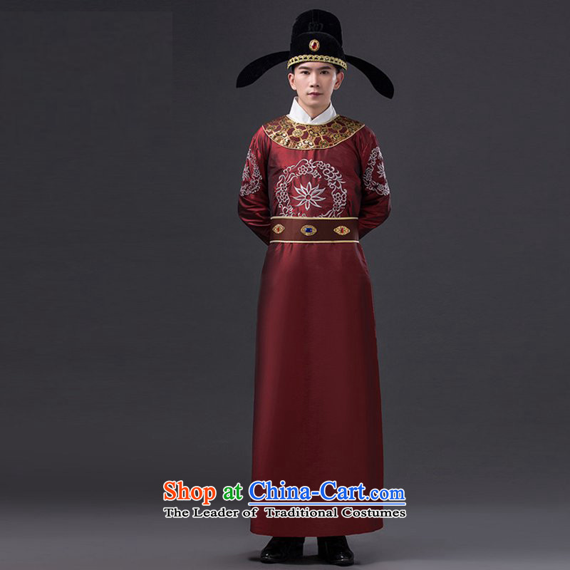 Ancient Han-Di Ren Jie clothing Yuen Fong uniforms wearing male minister costumes will display Lee Won-Fang Song Dynasty emperors in ancient costumes Gau 221-265 men wearing brown adult_ 160-175CM