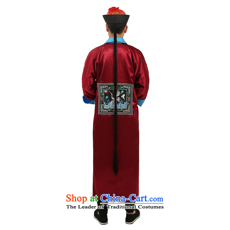 Time Syrian men wearing Qing dynasty ancient costumes. Eunuchs replacing Halloween costumes Halloween costume zombie bodyguard will deep red adult, Syria has been pressed 160-175CM, time shopping on the Internet