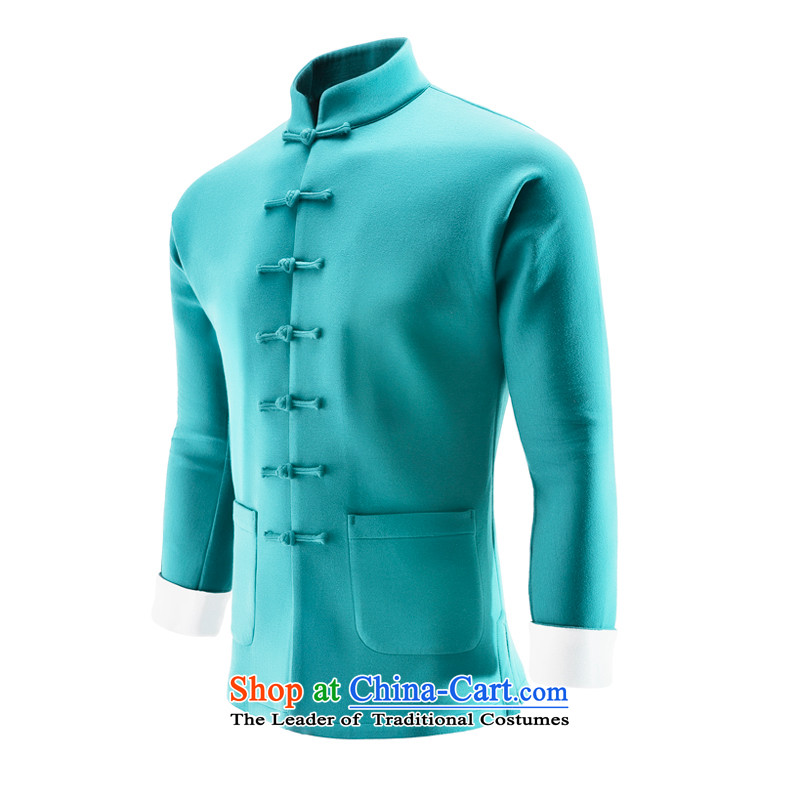 Hee-Snapshot Dragon Chinese wind even cuff tray clip Tang jackets Chinese Sau San sweater air layer sports top men light blue?L