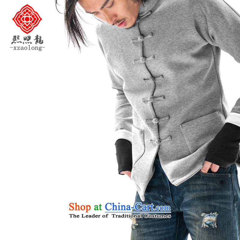 Hee-Snapshot Dragon Chinese wind even cuff tray clip Tang jackets Chinese Sau San sweater air layer sports top men light blue聽, L-hee (XZAOLONG snapshot lung) , , , shopping on the Internet