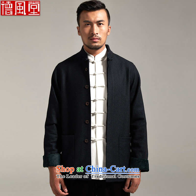 Fudo look forward to the winter, Tang dynasty spell color flip sleeve jacket Chinese knots in the?autumn and winter 2015 T-shirt older New China wind men black?2XL