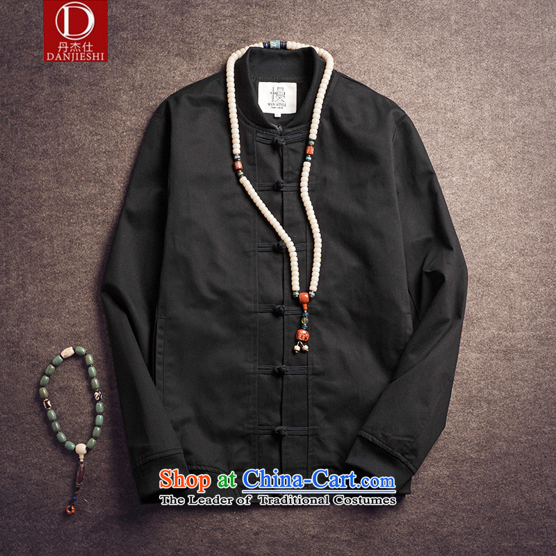 Dan Jie Shi 2015 Autumn autumn replace original design of China wind load father retro jacket men pure cotton pad detained baseball uniform jacket male and Black燲L
