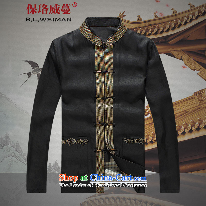 The Lhoba nationality Wei Overgrown Tomb 100 warranty silk yarn male cloud of incense Tang dynasty long-sleeved jacket coat in thin older persons men fall black L