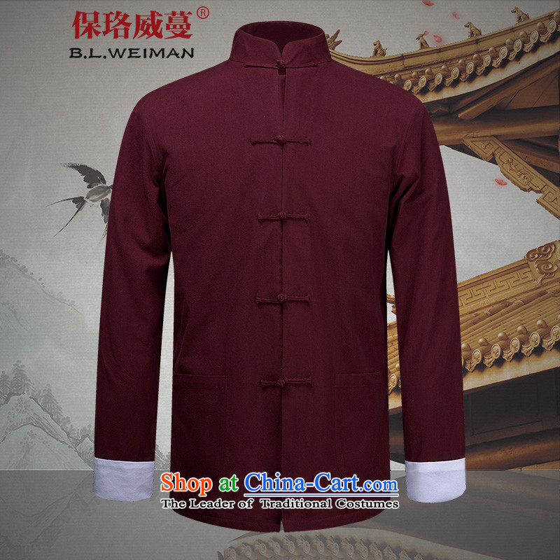 The Lhoba nationality Wei Mephidross warranty in spring and summer China wind men men Tang dynasty long-sleeved Chinese men's jackets old folk weave clothes red _TZWT-1014_ 185_XXL Kung Fu