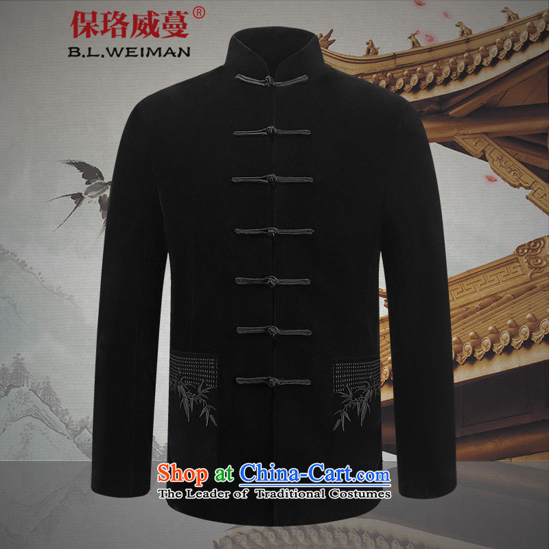 The Lhoba nationality Wei Mephidross Warranty Kim scouring pads men Tang long-sleeved jacket of older persons in the Chinese men's spring jackets and classic black?180_XL