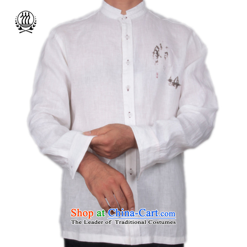 The fall of Bosnia and thre line linen men  of long-sleeved Tang dynasty China wind landscape stamp Long-Sleeve Shirt collar forming the Chinese shirt S-158613?XXL/185 White