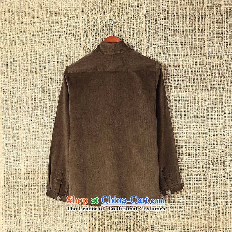 Dan James New China wind corduroy shirt collar long-sleeved shirt leisure Sau San male and Tang dynasty retro fitted brown聽XXL pictures autumn, prices, brand platters! The elections are supplied in the national character of distribution, so action, buy now enjoy more preferential! As soon as possible.
