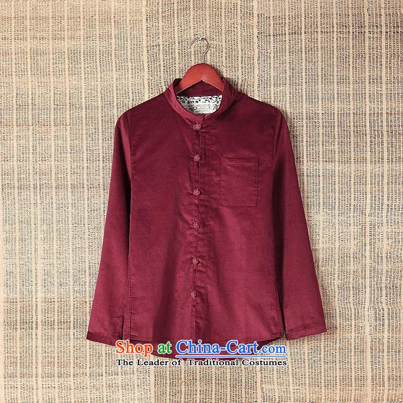 Dan James New China wind corduroy shirt collar long-sleeved shirt leisure Sau San male and Tang dynasty retro fitted brown聽XXL, autumn Dan Jie Shi (DAN JIE SHI) , , , shopping on the Internet