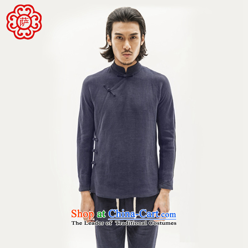 Sagci men China wind jacket is pressed his shirt, long-long-sleeved gown detained Tang dynasty?L