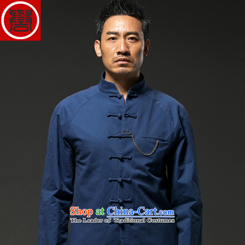 Renowned China wind men stylish l Disc detained men Tang dynasty through the spring and fall of Chinese Han-jacket coat blue?XXL