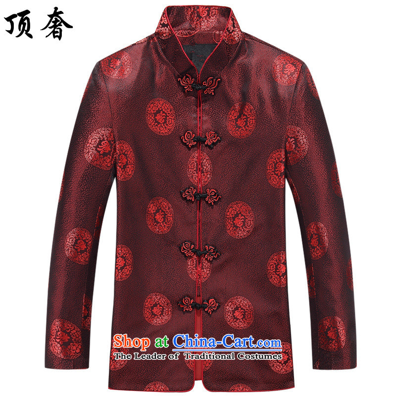 Top luxury in the autumn of the elderly couples Tang Jacket Men long-sleeved birthday too Shou Chinese dress to intensify the thickness of the elderly, cotton coat kit man jacket men 185