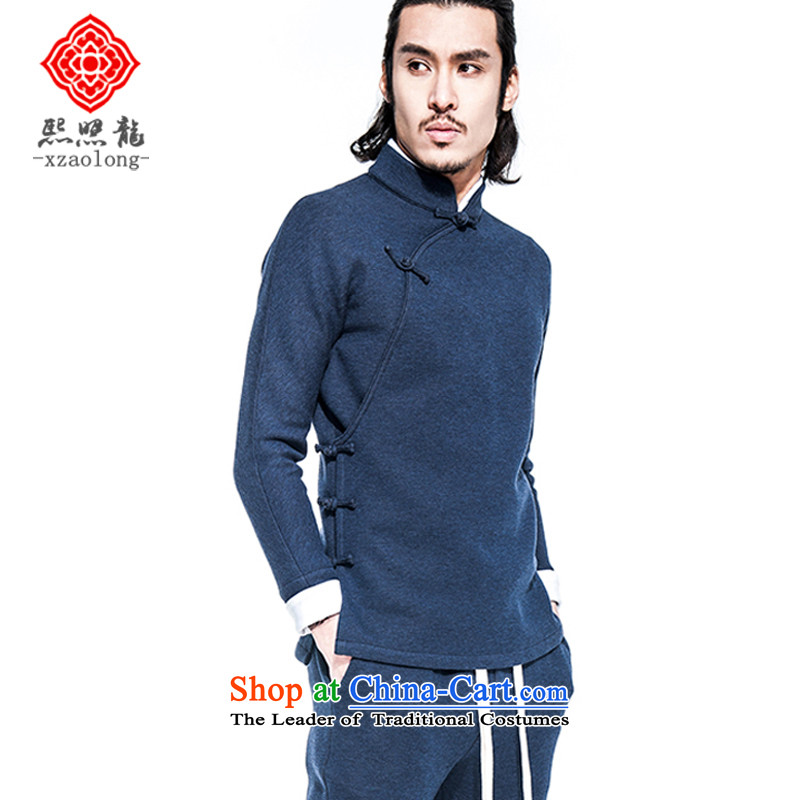 Hee-Yong-nam, a snapshot of the Chinese improved retro jacket Tang China wind is traversed by the tray clip continued (A/51/708 trim air layer Han-blue?M