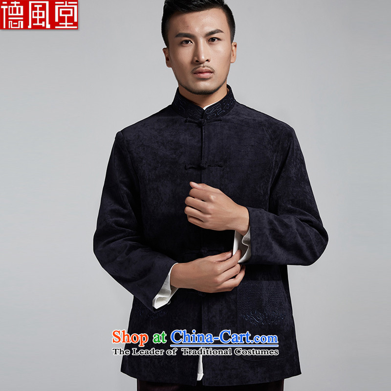 De Fudo Hongdu  2015 autumn and winter, Tang Dynasty Chinese clothes for men's jackets that embroidery fabric thick to large dark blue 4XL
