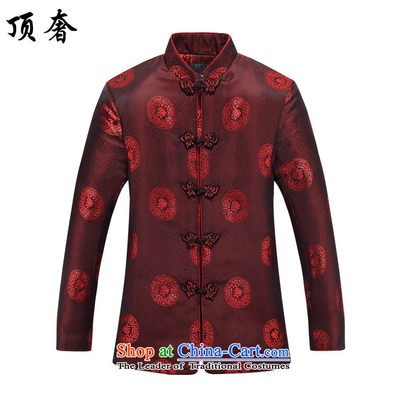 Top Luxury men in Tang Dynasty Older long-sleeved kit loose Chinese mock cotton coat female couple with Han-thick, Red Chinese Chinese tunic, jacket women 165