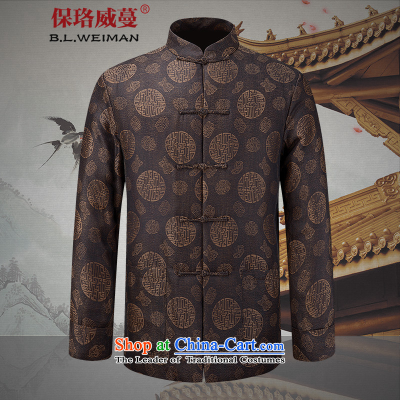 The Lhoba nationality Wei Overgrown Tomb in spring and autumn post prestige heavy cloud of incense yarn men Tang jacket men of older persons in the life of the dresses and elegant�180/XL Brown