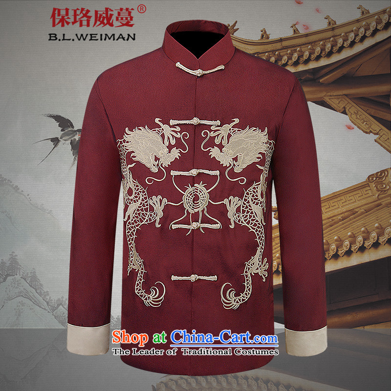 The Lhoba nationality Wei Overgrown Tomb fall under China wind men men Tang Dynasty Chinese long-sleeved jacket two dragons playing the pearl will red�5_XXL Embroidery