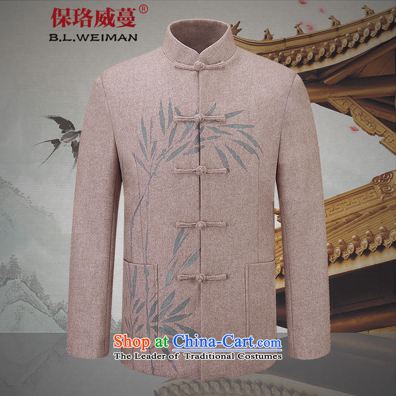 The Lhoba nationality Wei Mephidross Warranty China wind wool a young man Tang long-sleeved jacket Chinese clothing spring jackets brown�5_L