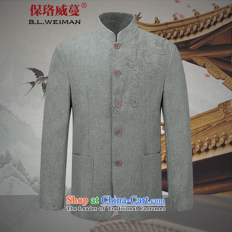 The Lhoba nationality Wei Mephidross Warranty China wind men's woolen a casual jacket collar men use sub-free hot spring and autumn?175/L gray jacket