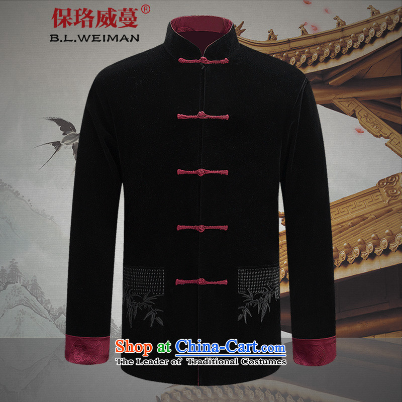 The Lhoba nationality Wei Mephidross warranty spring corduroy of older persons in the leisure men Tang dynasty China wind long-sleeved jacket and black and red double-sided through two-sided 175/L