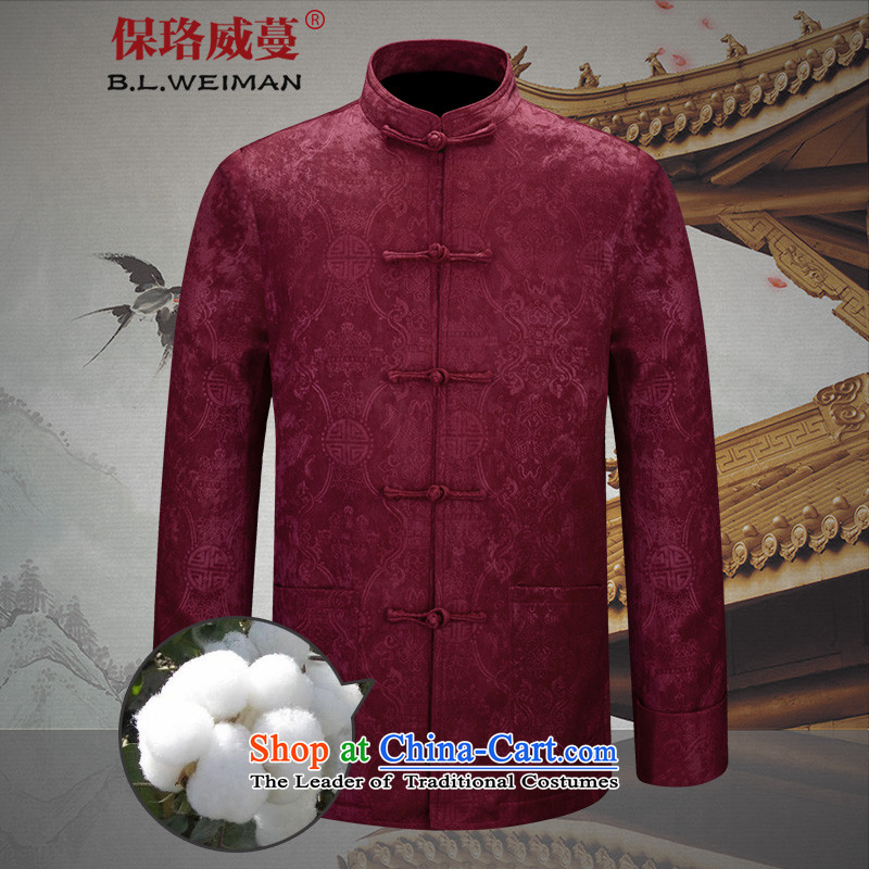 The Lhoba nationality Wei Overgrown Tomb fall under men of older persons in the Tang dynasty men's jackets elderly men winter coat Chinese tunic red _cotton_ 170_M