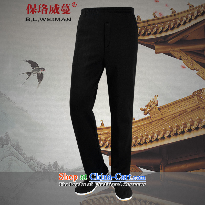 The Lhoba nationality Wei Overgrown Tomb in spring and autumn post new pure cotton pants thick in Tang older men father casual pants China wind men's trousers, black _Spring Loaded_ 175_L winter lint-free