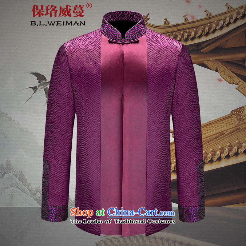 The Lhoba nationality Wei Mephidross warranty spring men Tang Dynasty Chinese dress clothes APEC Han-improvement of older men's noble first Chinese tunic聽185_XXL