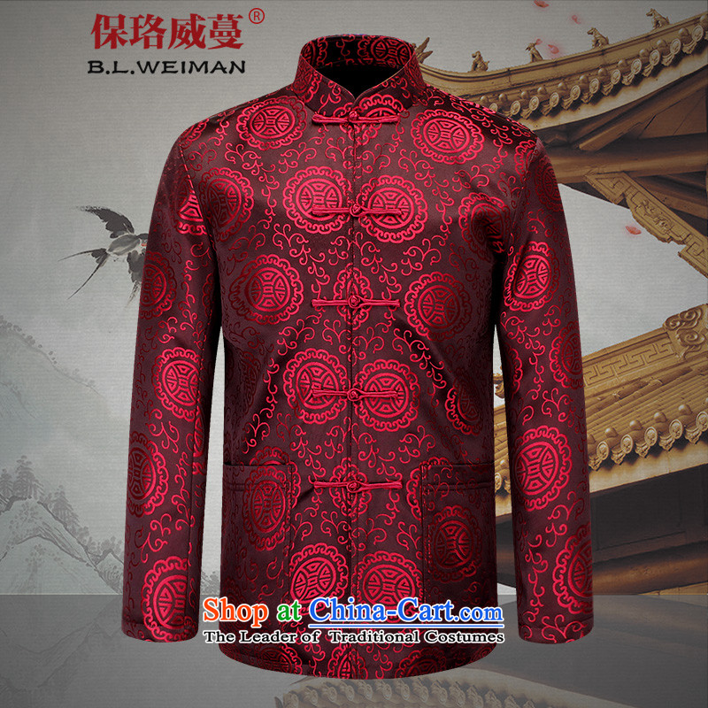 The Lhoba nationality Wei Mephidross warranty 2015 red happy man Tang Jacket coat of older people in long-sleeved gown 729 red?185_XXL National