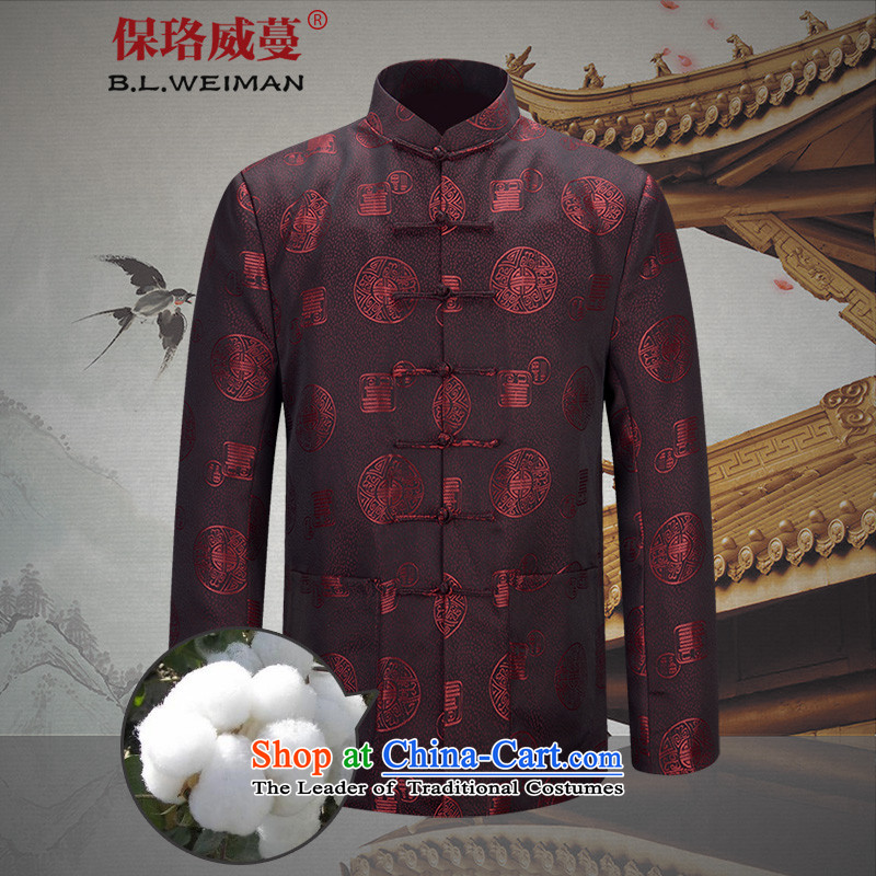 The Lhoba nationality Wei Overgrown Tomb autumn warranty couples Tang dynasty men jacket coat of older persons in the Chinese Dress autumn load long-sleeved festive red - Men well field_ Cotton_ XXL
