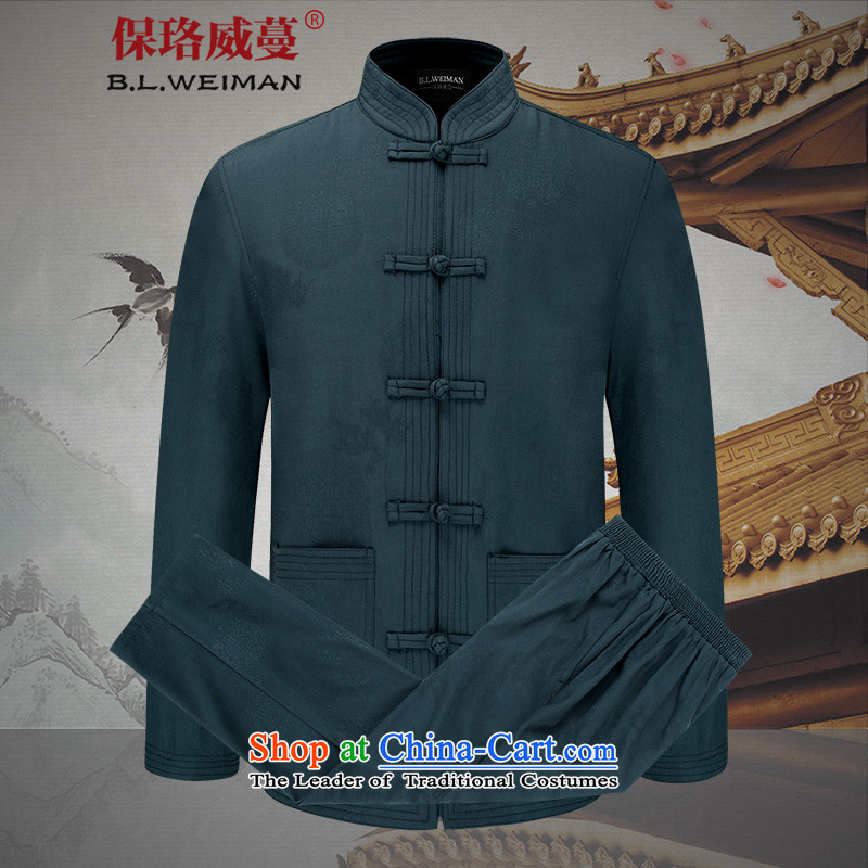 The Lhoba nationality Wei Mephidross warranty spring China wind men Tang dynasty men kit spring and autumn long-sleeved jacket coat of Chinese male retro _TZ9273_ blue packaged聽170_M