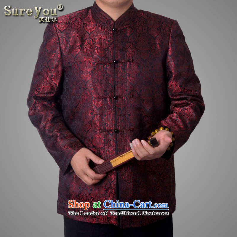 Mr Rafael Hui-ying's New Man Tang jackets spring long-sleeved shirt collar male China wind Chinese elderly in the national costumes holiday gifts deep red deep red 1586-15 185