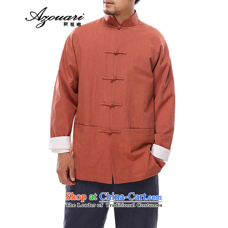 Azzu defense _azouari_ China wind of autumn and winter linen manually Tang dynasty detained disc long-sleeved leisure men's jackets red-orange聽L