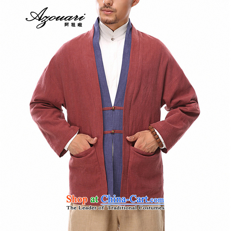 Azzu defense (azouari) China wind of autumn and winter men linen Chinese Disc clip relaxd Han-jacket cotton linen Tang jacket red�XXL
