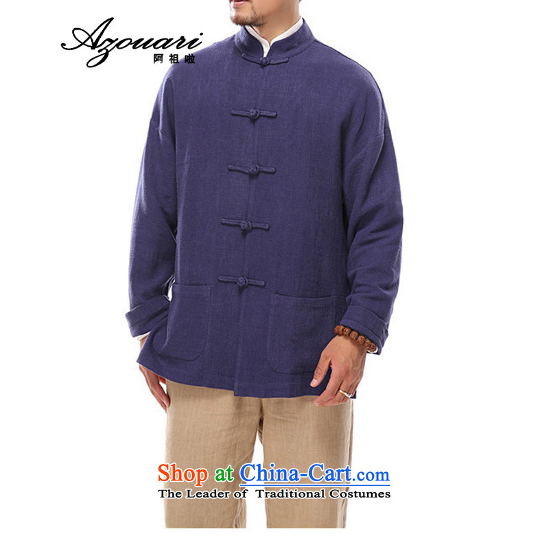 Azzu defense _azouari_ China wind of autumn and winter men cotton linen Chinese Disc detained long-sleeved jacket Tang men Han-blue?L