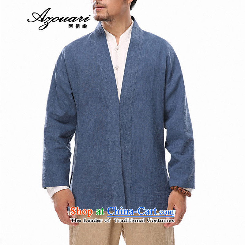 Azzu defense _azouari_ China wind autumn men cotton linen long-sleeved sweater Chinese Han-men's jackets ball-service blue聽L
