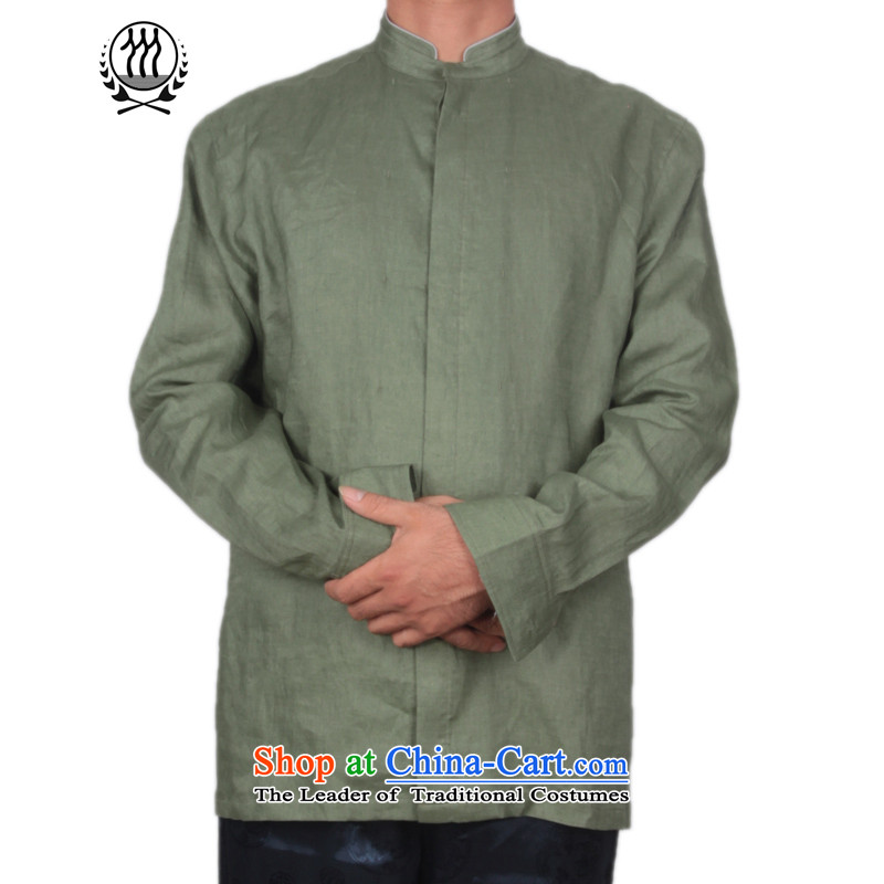 Bosnia and thre line new autumn men linen middle-aged long-sleeved shirt, forming the solid color linen  Netherlands Chinese Han-father replacing Tang dynasty S-158617聽XXL_185 green