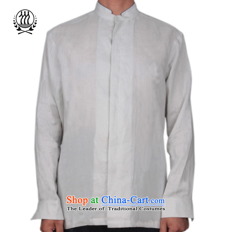 Bosnia and thre line new autumn men linen middle-aged long-sleeved shirt, forming the solid color linen: Netherlands Chinese Han-father replacing Tang dynasty S-158617聽XXL/185, Green Line (gesaxing Bosnia and thre) , , , shopping on the Internet