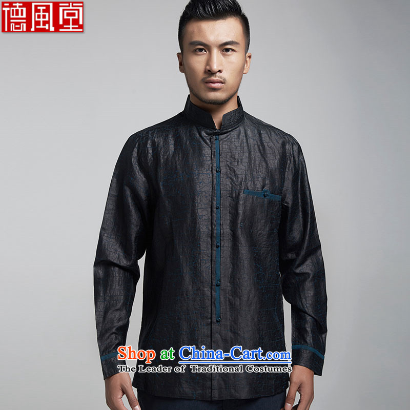 De Fudo Cornflower Blue聽2015 original cloud of incense yarn Tang dynasty and long-sleeved shirt silk Chinese domestic Tang dynasty China wind black聽L