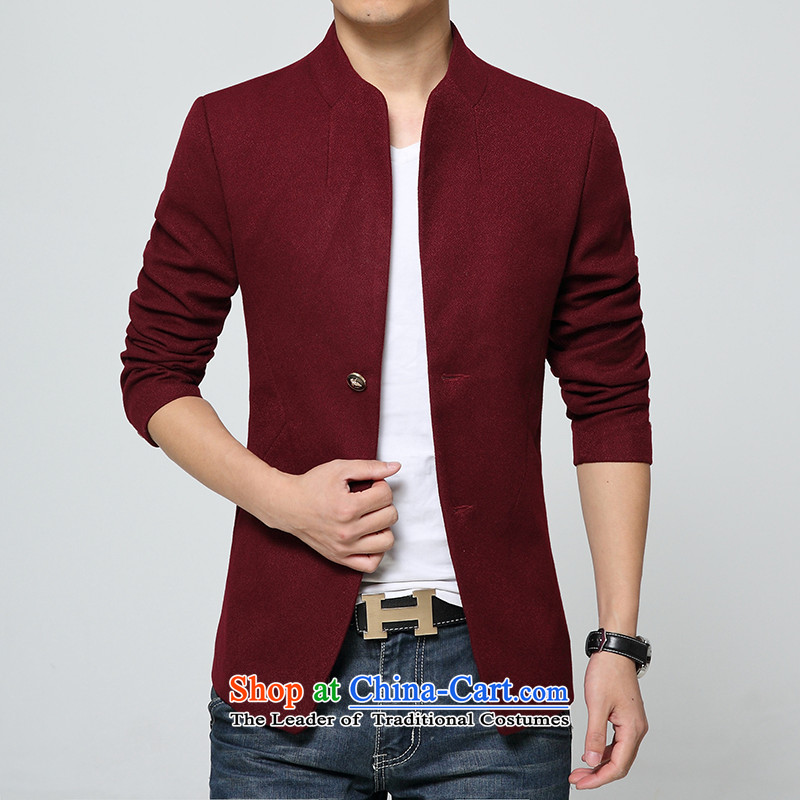 Mrs Rafael Hui Carter, 2015 autumn and winter in thick long collar windbreaker single row detained men coat? What Chinese tunic jacket wine red?L