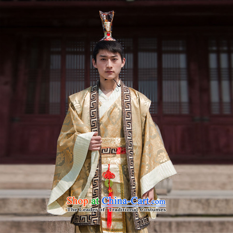 Time Syrian Tang dynasty costume ancient Minister Han-red costumes will rationalize sat photography Gau 221-265 King Lung Emperor robe men wearing stage costumes khaki adult) 160-175CM