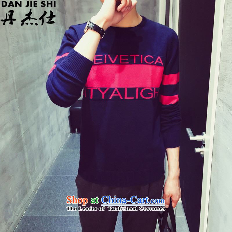 Dan Jie Shi�2015 autumn and winter China wind men light Sweater Knit shirts pullovers red and white Shop Main blower blue�2XL