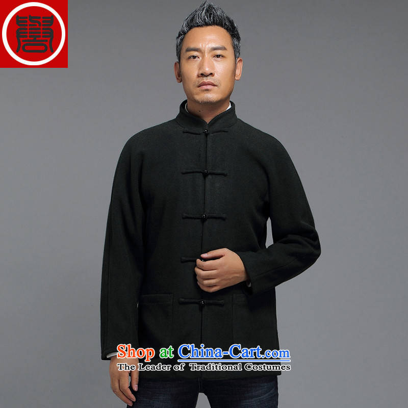 Renowned for autumn and winter 2015 New China wind in older men Tang Dynasty Chinese long-sleeved improved disk detained men Han-Tang dynasty?3XL Emerald