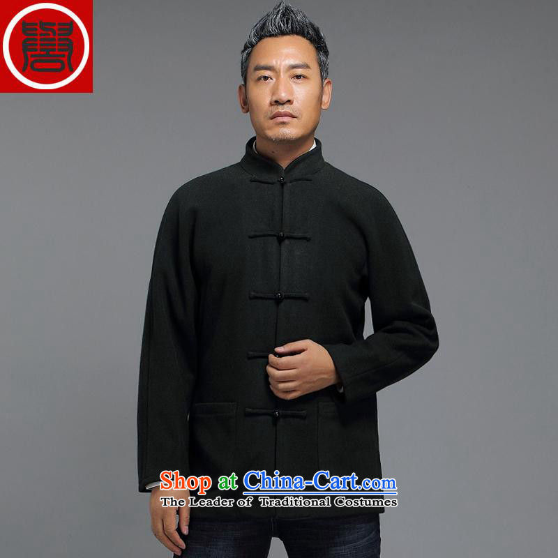 Renowned in the autumn and winter 2015 older men Tang dynasty China wind Chinese long-sleeved sweater improved disk detained men Han-Tang Dynasty Emerald�4XL