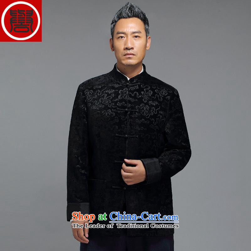 Renowned China wind in the autumn and winter 2015 older men stamp Tang Jacket coat Chinese improved temperament Tang Dynasty Xiangyun embroidery collar disc detained jacket Black燲L