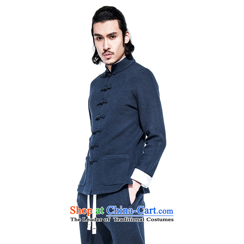 Hee-Yong-nam, a snapshot of the China wind collar disc detained Tang jackets Chinese improved sports top air layer even cuff blue sweater燬